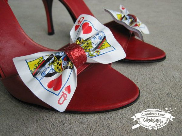 Playing Card Shoes for Queen of Hearts Costume.