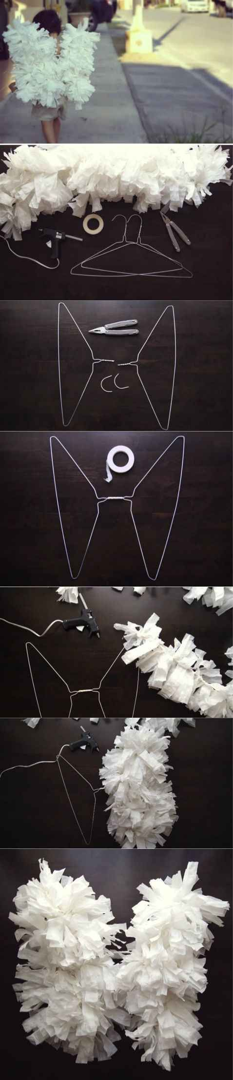DIY Angel Wings Using Paper and Clothes Hangers.