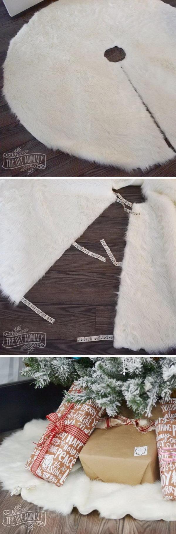 DIY No Sew Faux Fur Christmas Tree Skirt.