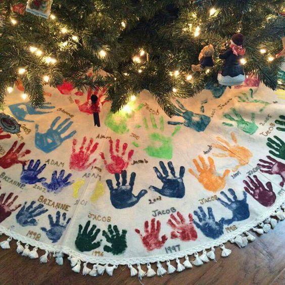 Handprint Christmas Tree Skirt.