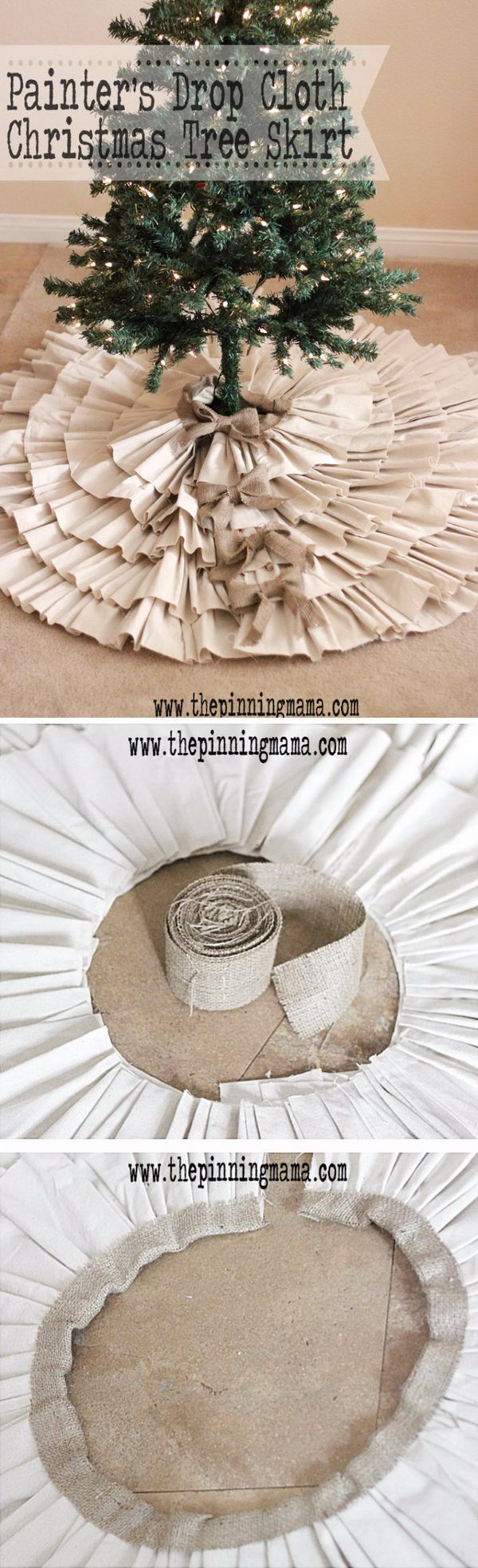 DIY Painter's Drop Cloth And Burlap Ruffled Tree Skirt.