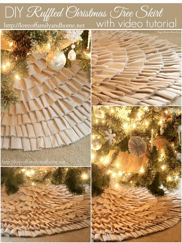 DIY No Sew Ruffle Tree Skirt.