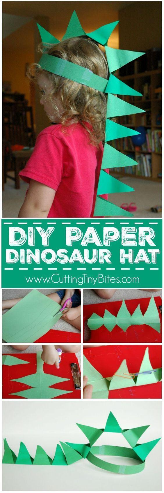 DIY Paper Dinosaur Hat.