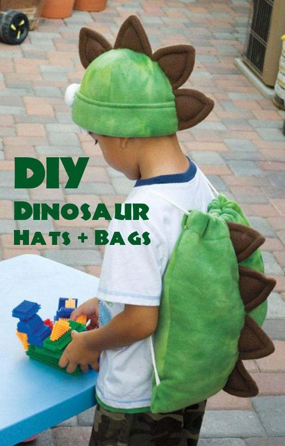 DIY Dinosaur Favor Bags + Hats.