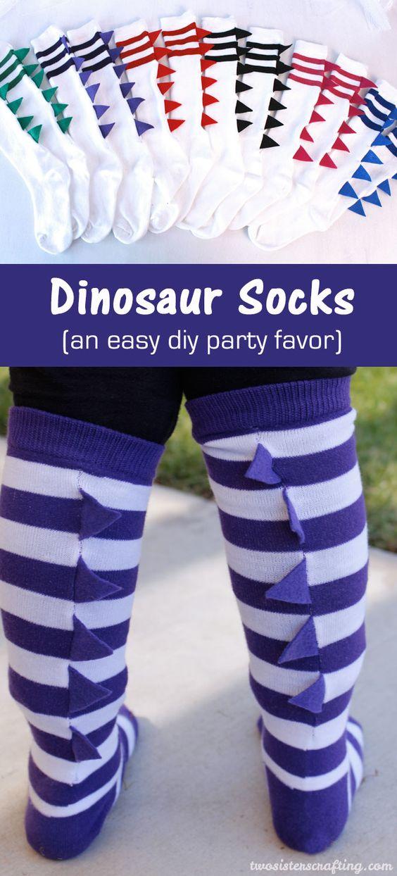 DIY Dinosaur Socks.