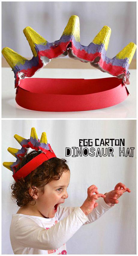 Egg Carton Dinosaur Hat.