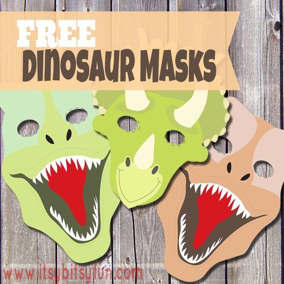 Free Printable Dinosaur Masks.
