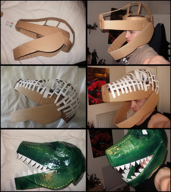 Cardboard Dinosaur Helmet.