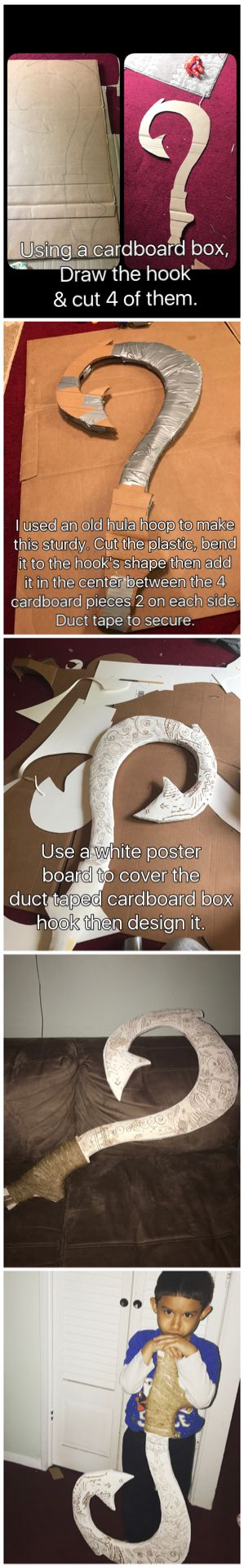 DIY Maui's Magical Fish Hook Using a Cardboard Box.