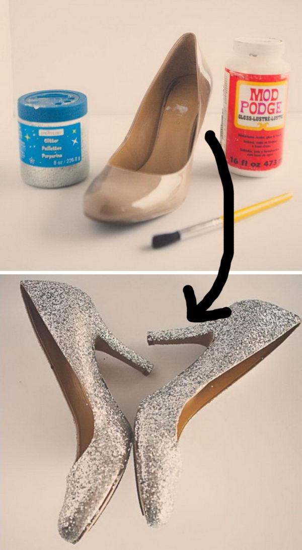 DIY Glitter High Heel Shoes for Cinderella Costume.