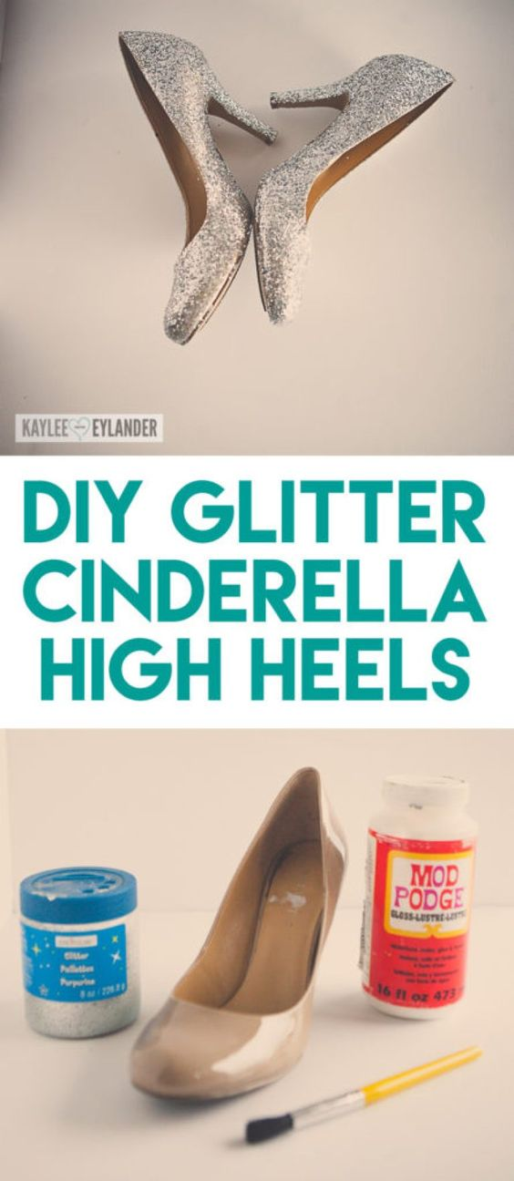 DIY Glitter High Heel Shoes for Cinderella Costume.