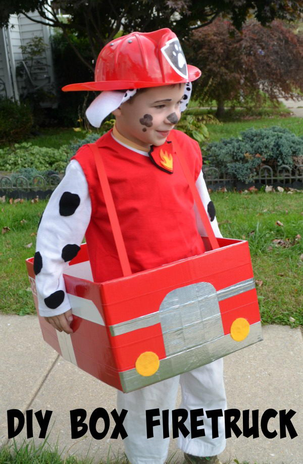 DIY Firetruck Box for Paw Patrol Marshall Costume.