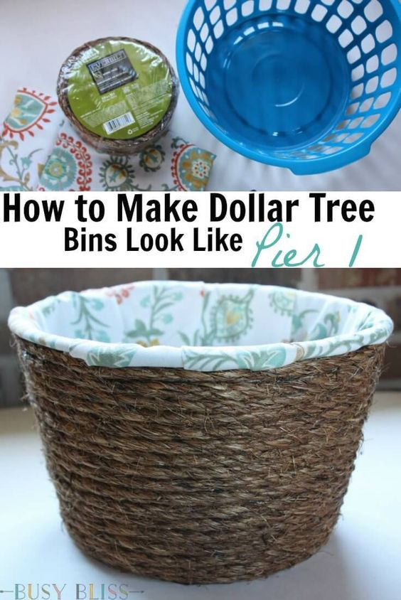 DIY Lined Woven Baskets From Dollar Tree Storage Bins.