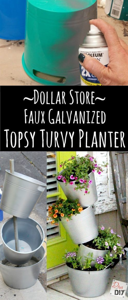 Faux Galvanized Flower Pot Using Dollar Store Plastic Buckets.