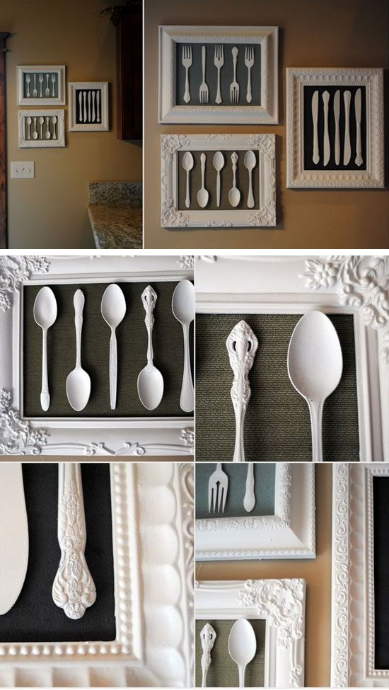 Wall Art Made from Recycled Cutlery And Dollar Store Frames.