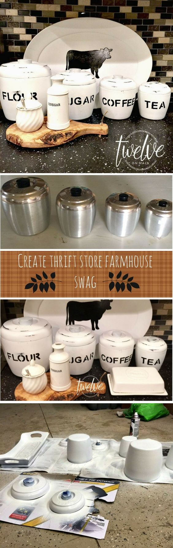 DIY Farmhouse Style Containers From Thrift Store Finds.