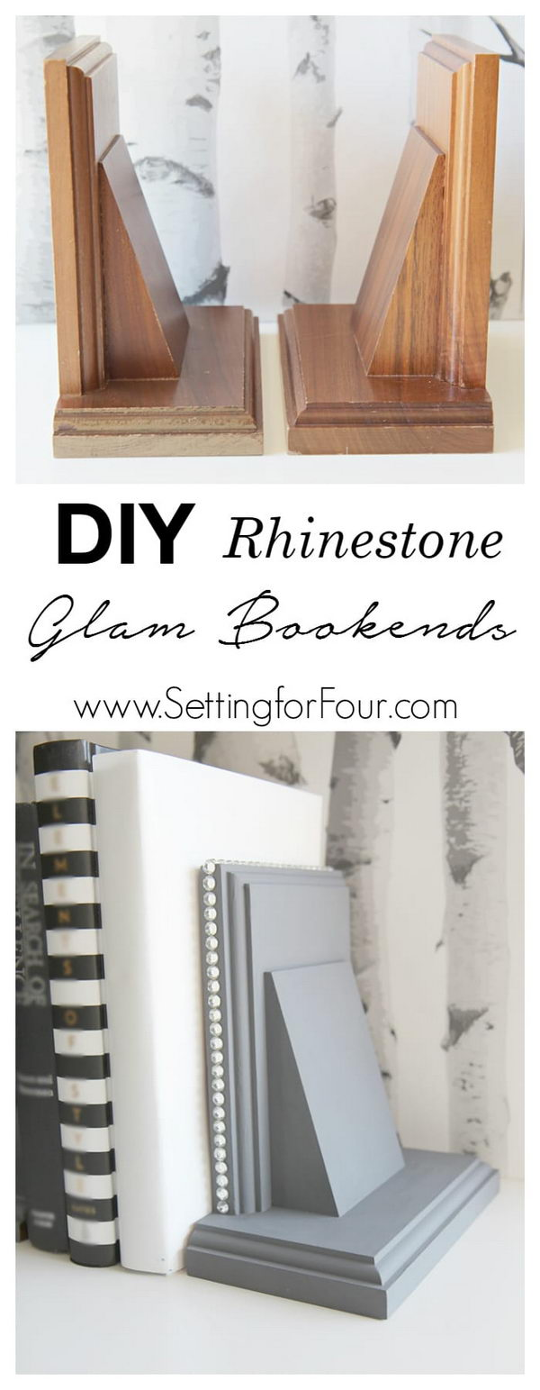 DIY Rhinestone Glam Bookends Using Thrift Store Wooden Bookends.