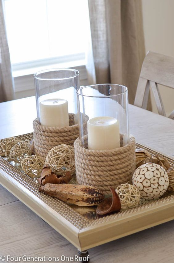 DIY Rope Candle Holders.