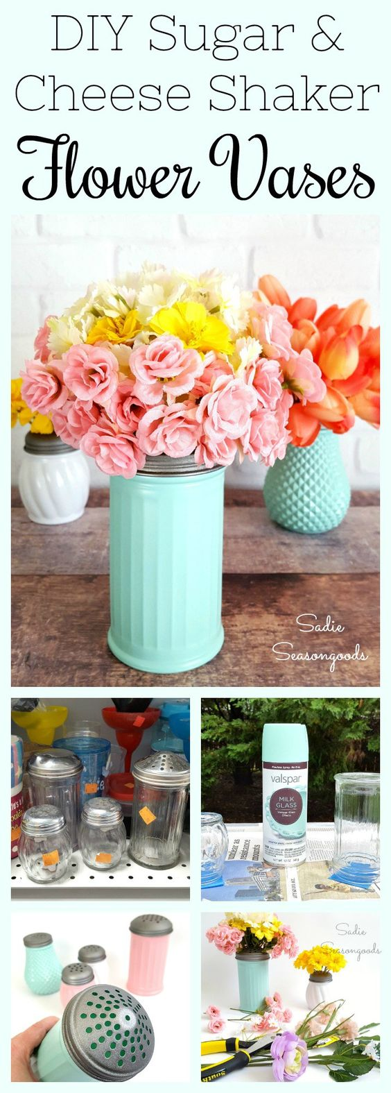 DIY Vases From Dollar Store Cheese & Sugar Shakers.