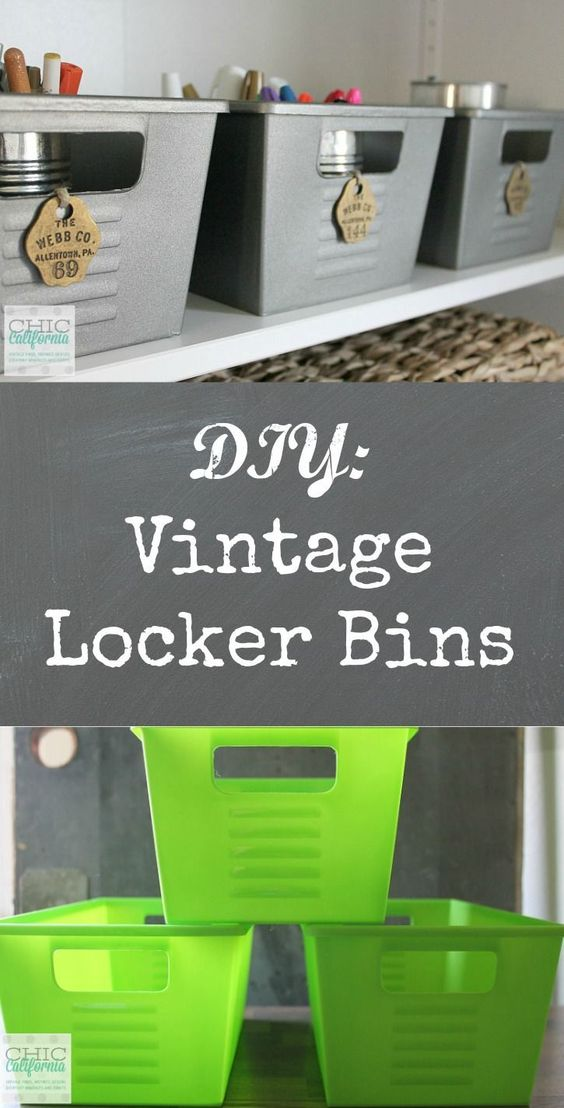 Vintage Locker Bins From Dollar Store Plastic Bins.