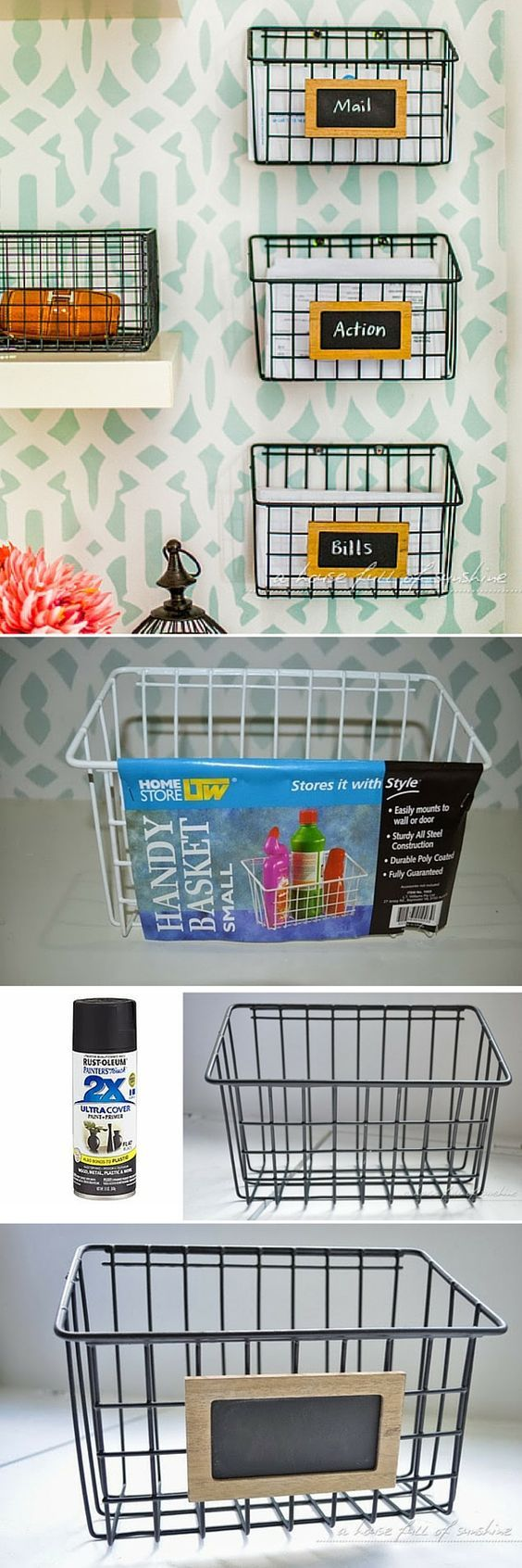 DIY Industrial Wire Mail Baskets.