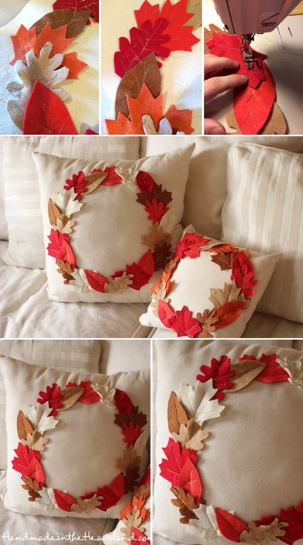 DIY Leaf Pillows For Fall And Thanksgiving.