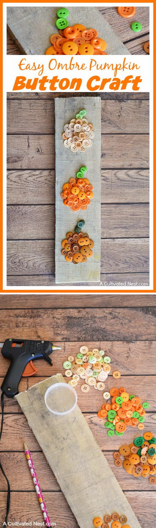 Easy Ombre Pumpkin Button Craft.