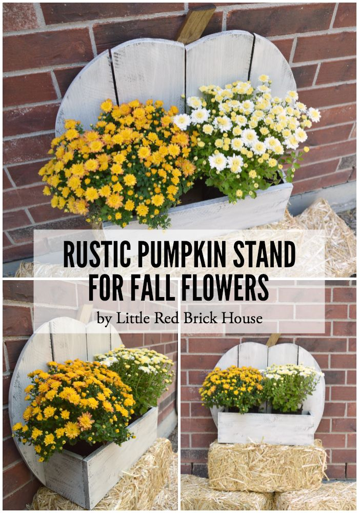 Rustic Pumpkin Stand for Fall Flowers.