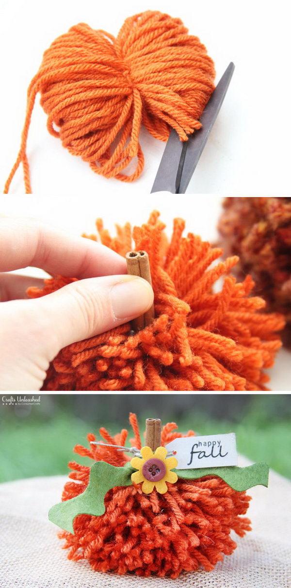 DIY Pom Pom Pumpkins.