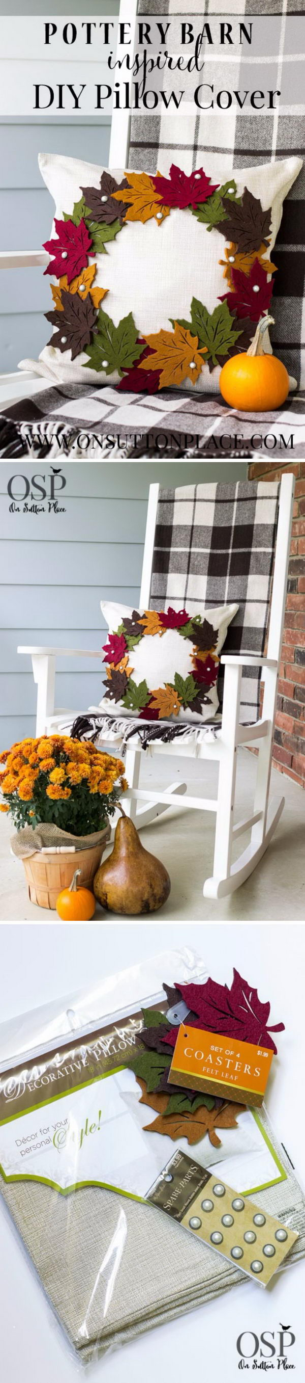DIY Pottery Barn Inspired Fall Wreath Pillow.