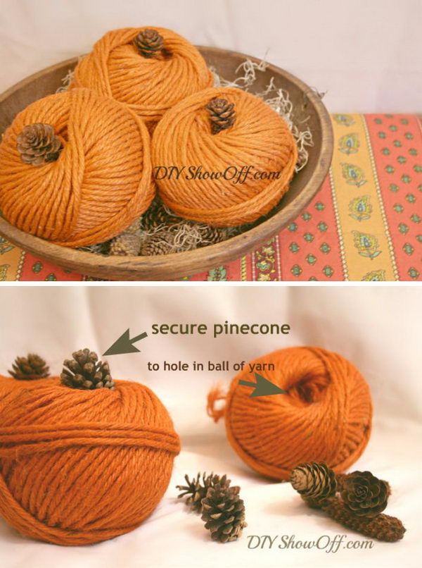DIY Yarn Pumpkins.