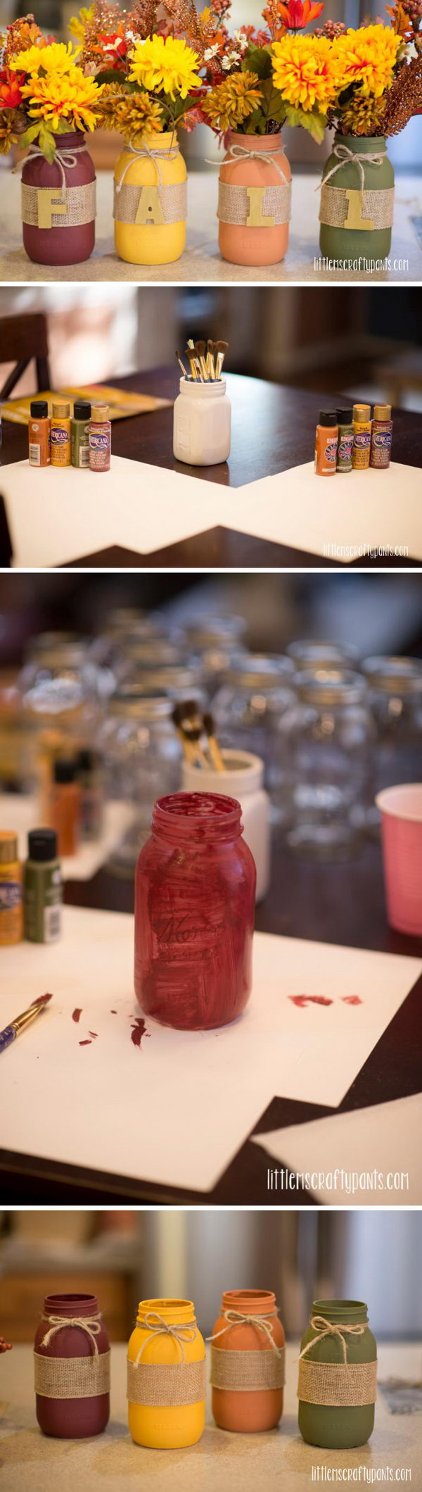 DIY Fall Mason Jar Decoration.