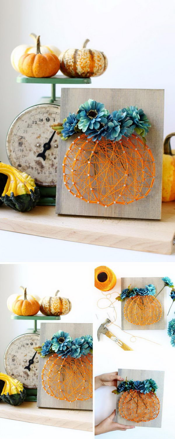 Fall Floral In A Pumpkin String Art.