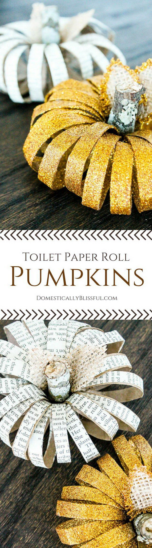 DIY Toilet Paper Roll Pumpkins.