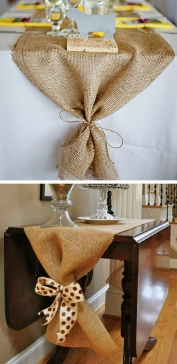 DIY Burlap Table Runner.