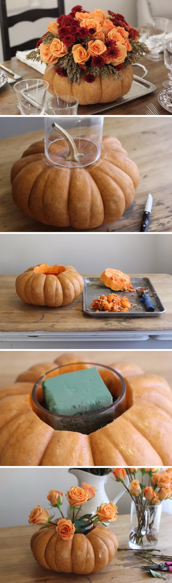 DIY Pumpkin Vase Centerpiece.