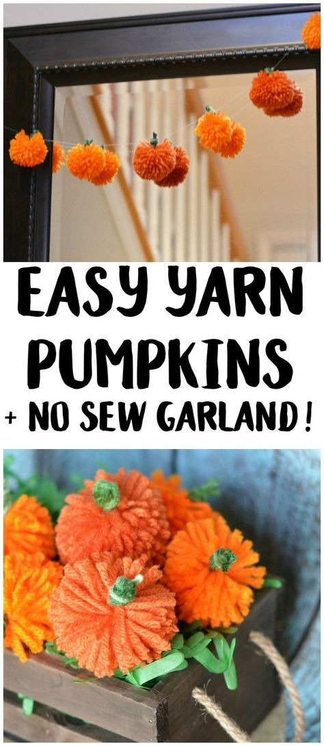 DIY No Sew Yarn Pumpkins Garland.