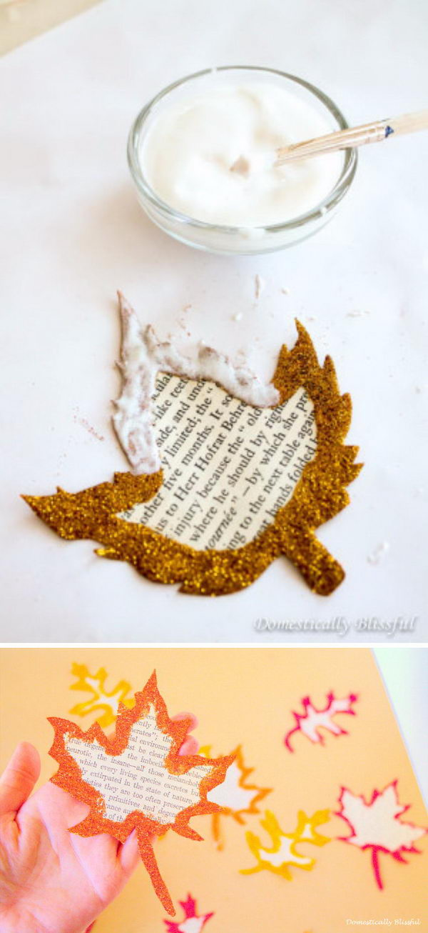 Glittery Book Page Fall Leaves.