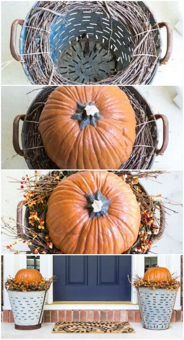 DIY Fall Olive Bucket Pumpkin Planters.