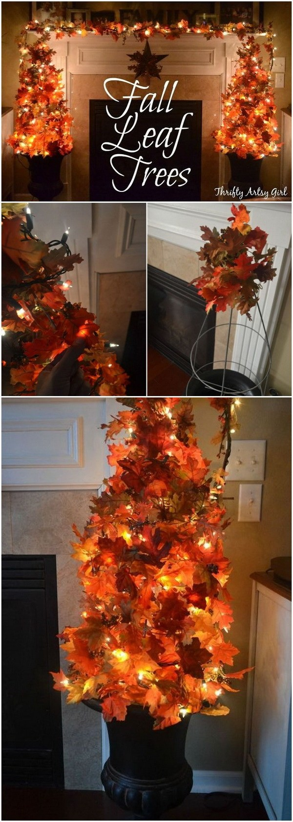 DIY Topiary Tree Using Fake Fall Leaves And Fairy Lights.