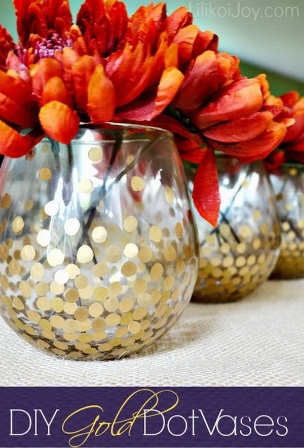 DIY Gold Dotted Vases For Displaying Fall Flowers.