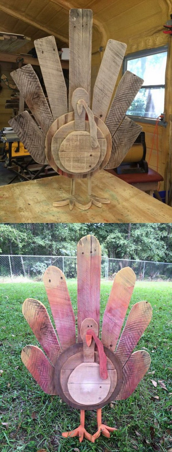 DIY Wooden Turkey Decor For Thanksgiving.