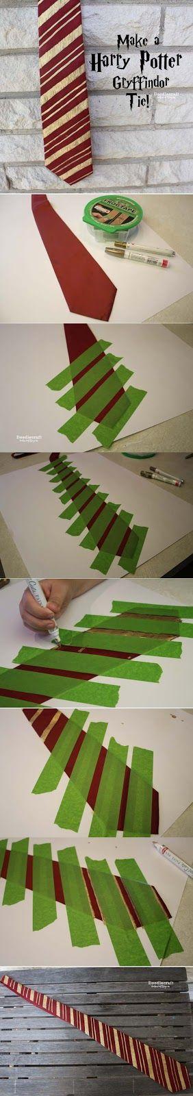 DIY Gryffindor Tie for Harry Potter Costume.