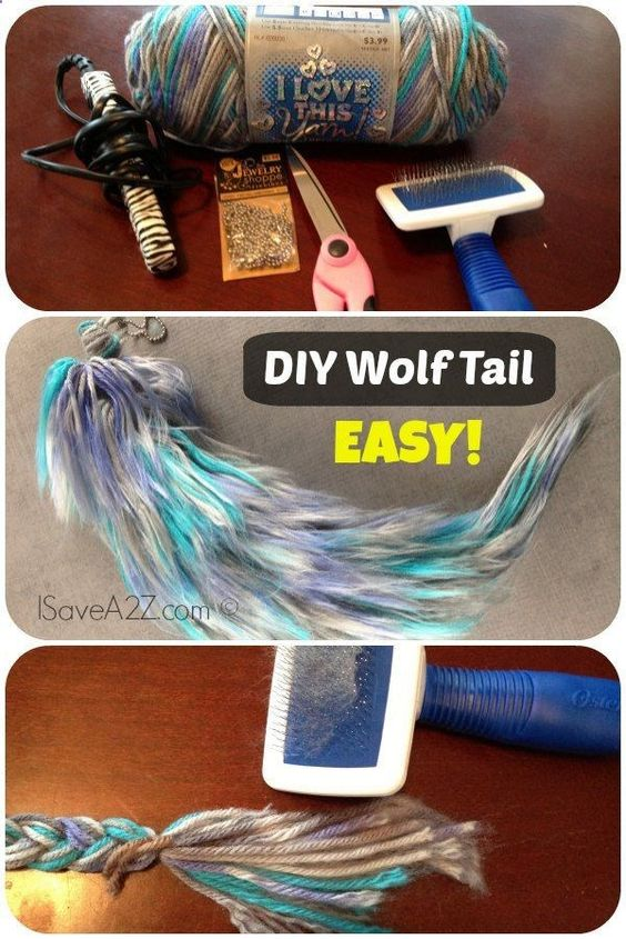 DIY Yarn Tail for Wolf Costume.