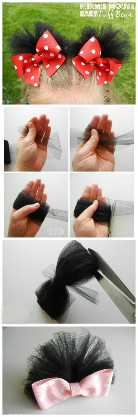 DIY Minnie Mouse Ears Puff Bows for Minnie Mouse Costume.