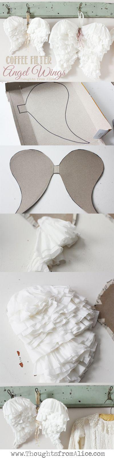 DIY Coffee Filter Angel Wings for Angel Costume.