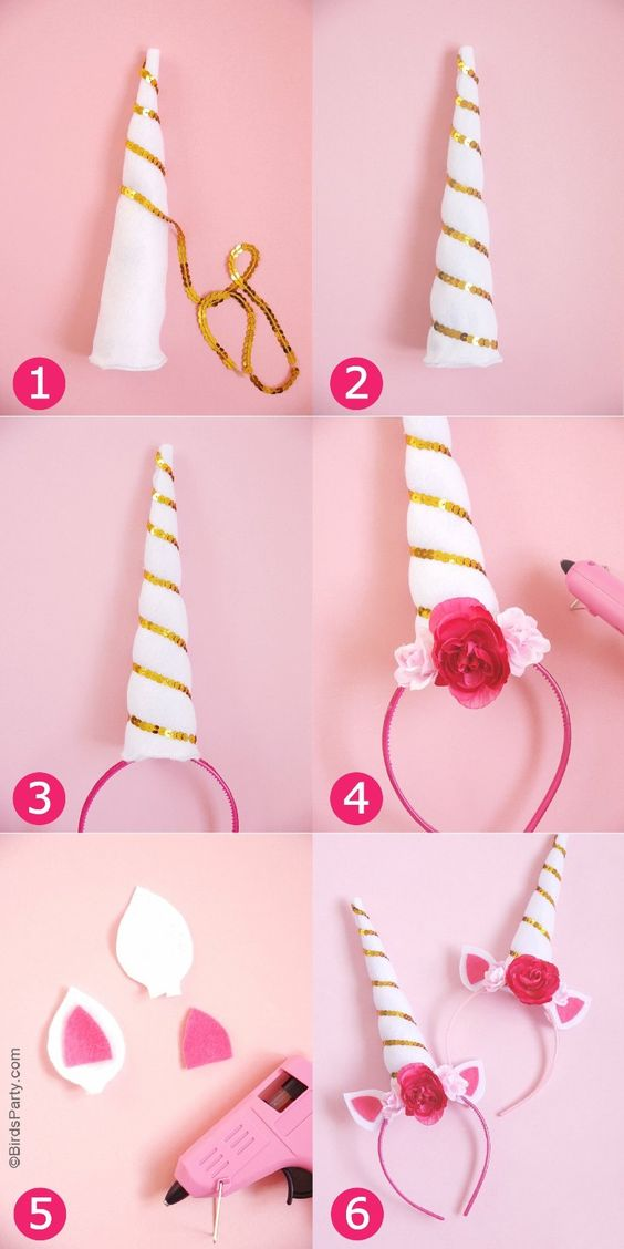 DIY Unicorn Party Headbands for Unicorn Costume.