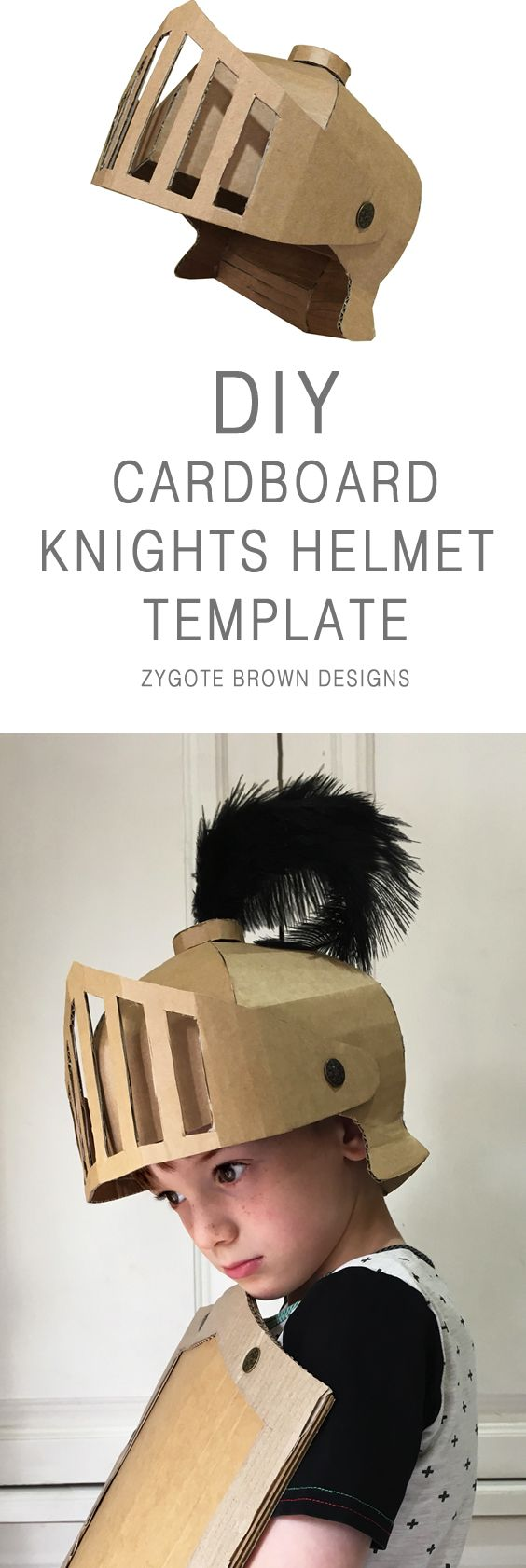 Cardboard Helmet for DIY Knight Costume.