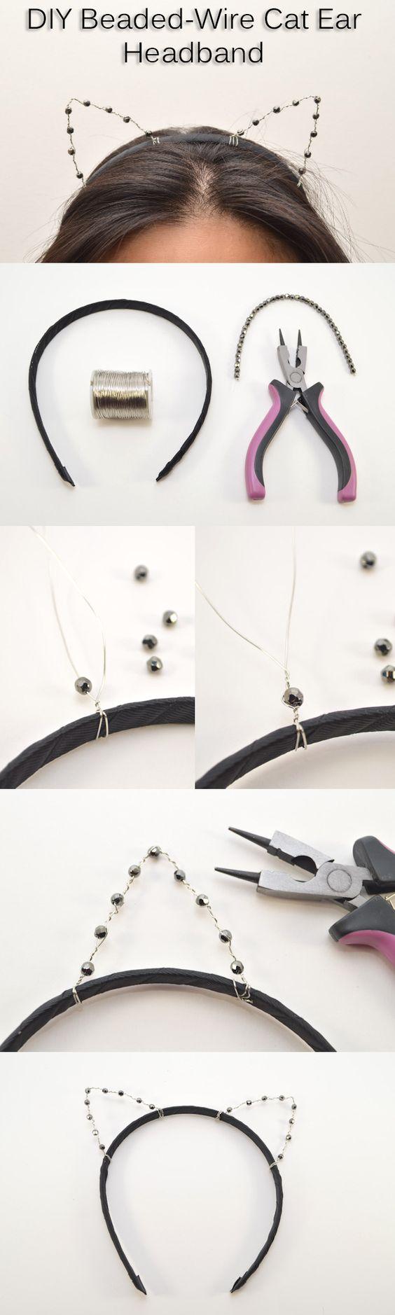 Beaded-Wire Cat Ear Headband for DIY Cat Costume.
