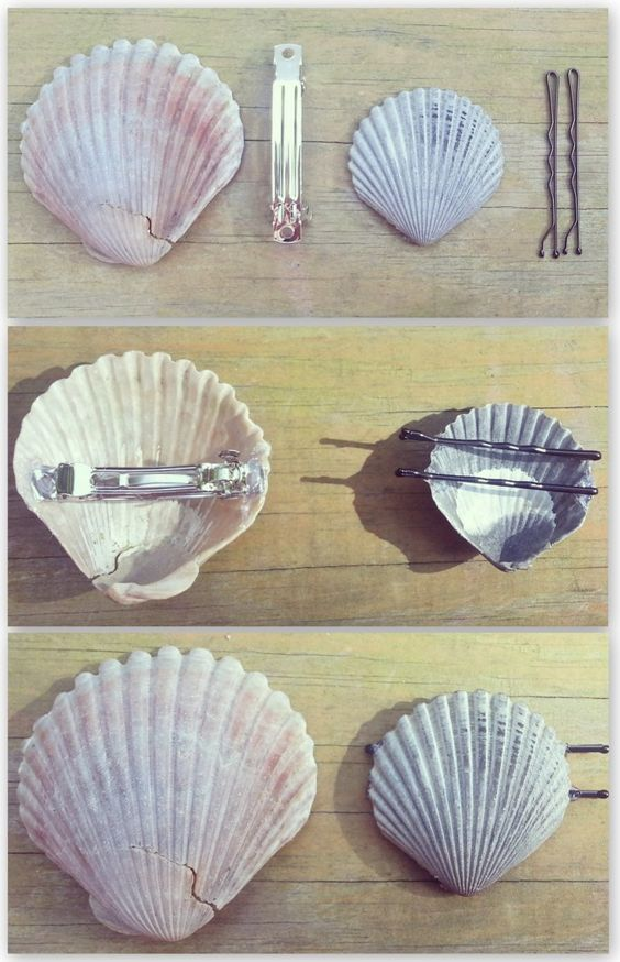 DIY Shell Hair Pins.